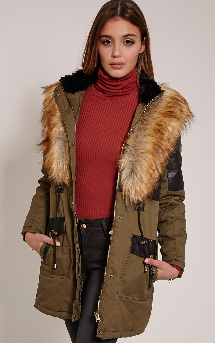 Elanor Khaki PU Panel Fur Collar Parka Jacket 4