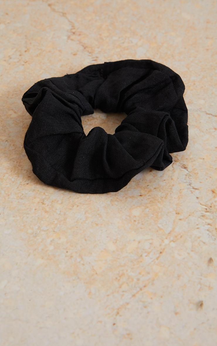 Black Linen Feel Scrunchie 2