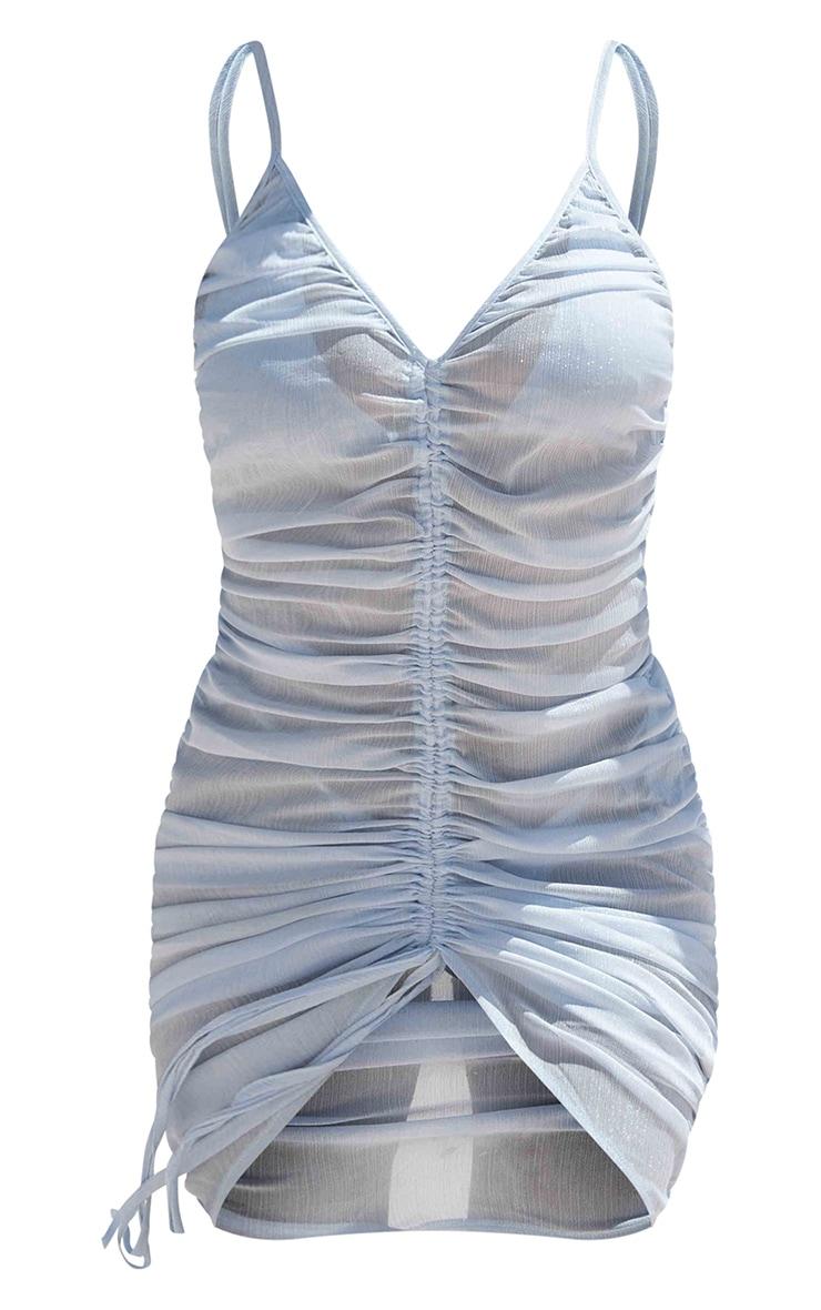 Baby Blue Ruched Chiffon Beach Dress 4