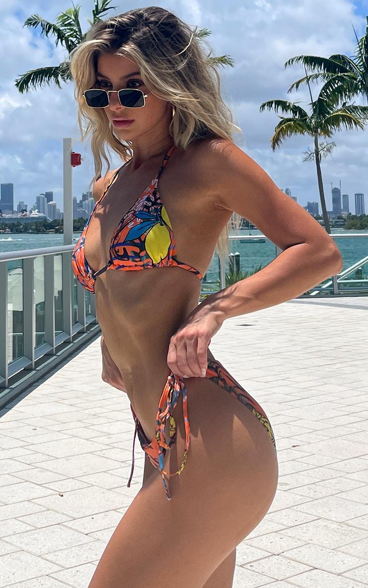 Orange Art Tie Side Bikini Bottoms 2
