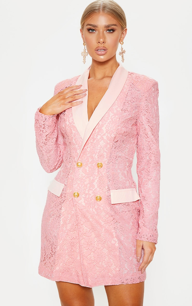 Dusty Pink Lace Gold Button Blazer Dress 1