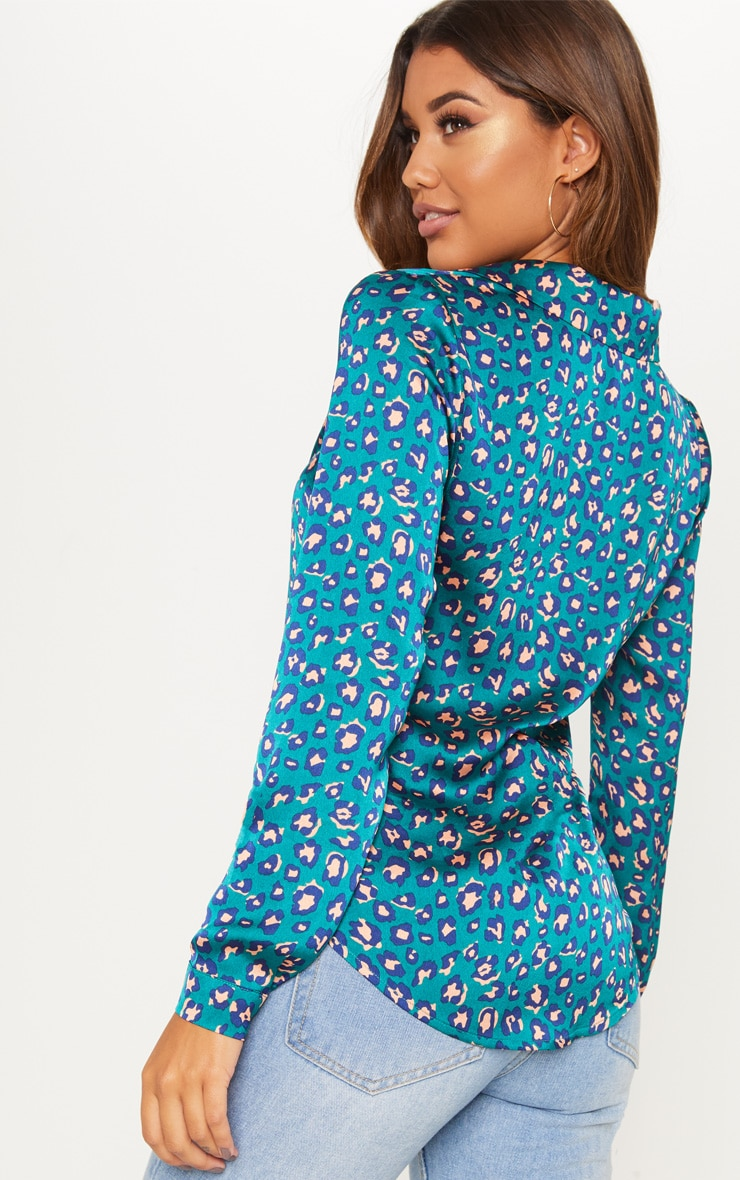 Teal Leopard Print Satin Shirt 2