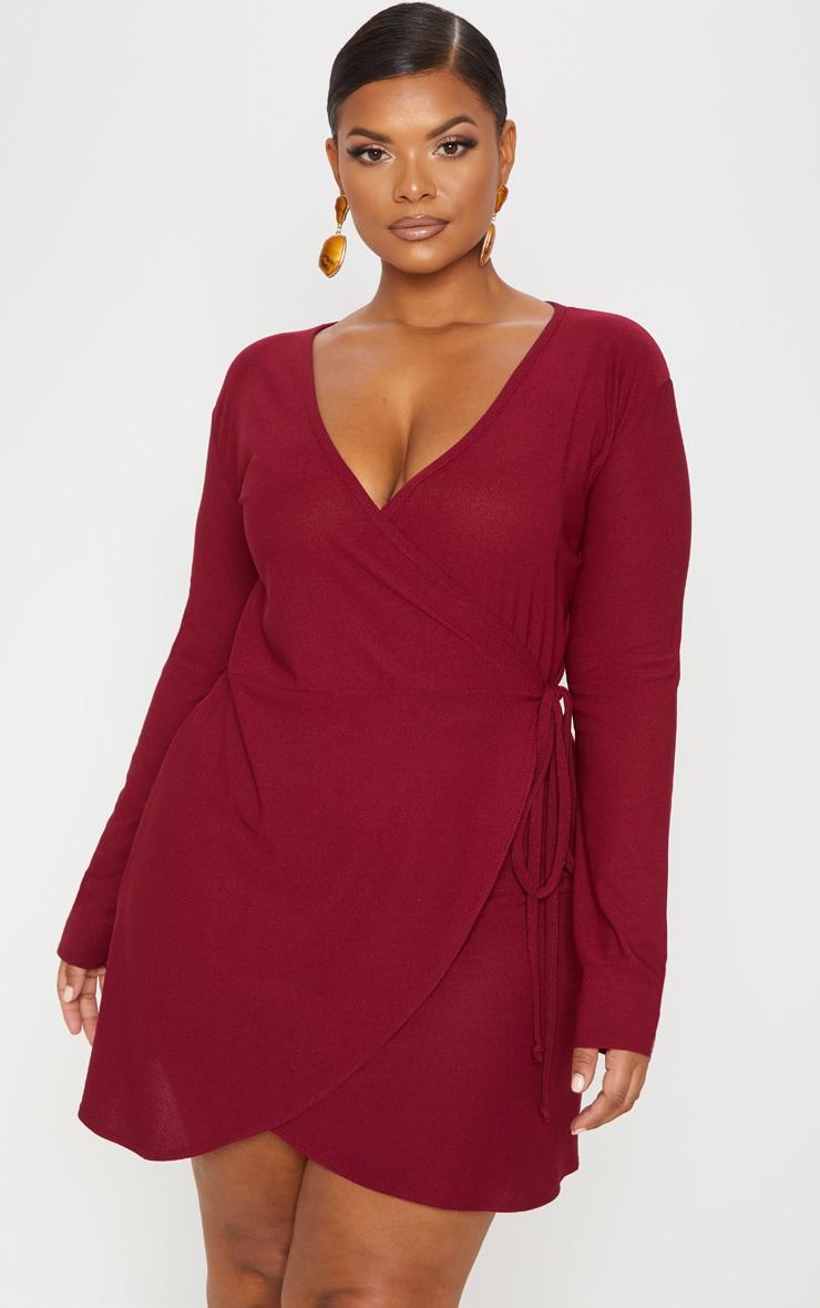 Plus Burgundy Wrap Long Sleeve Tea Dress 4