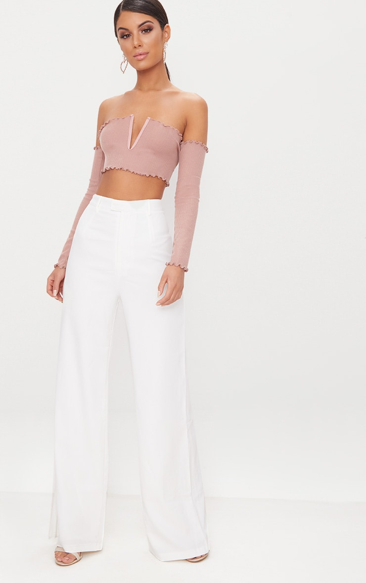 Rose Frill Edge V Bar Long Sleeve Crop Top  4