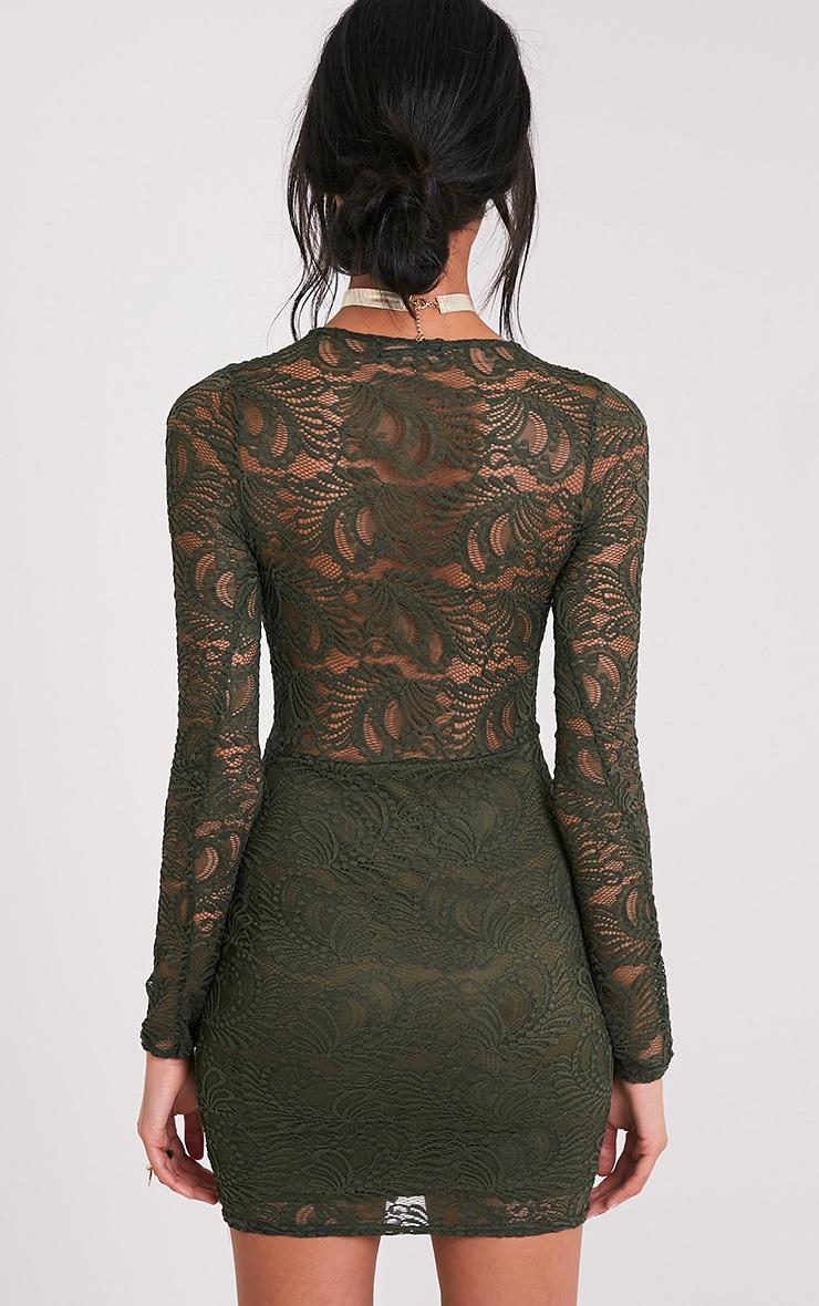 Sereenia Khaki Long Sleeve Lace Bodycon Dress 2