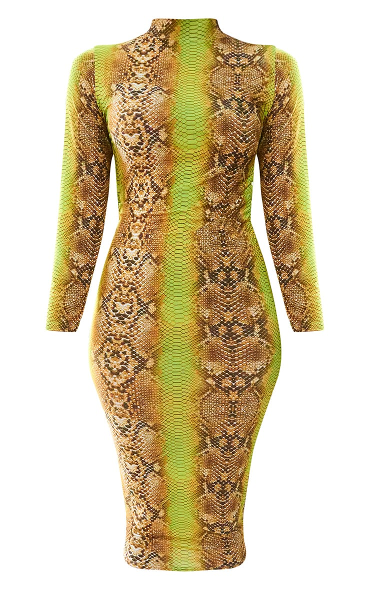 Tan Snake Print Slinky Open Back Midi Dress 5