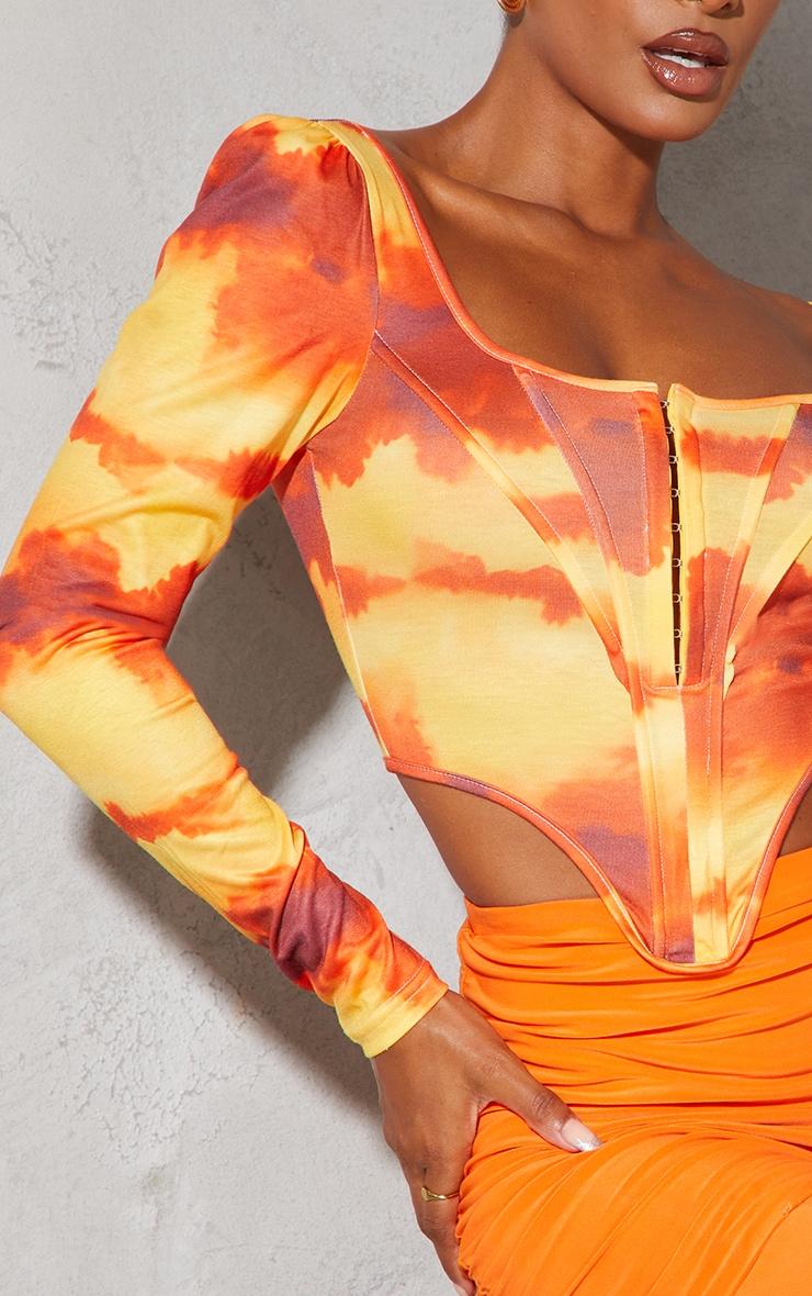 Orange Abstract Cloud Print Jersey Long Sleeve Pointed Hem Corset 4