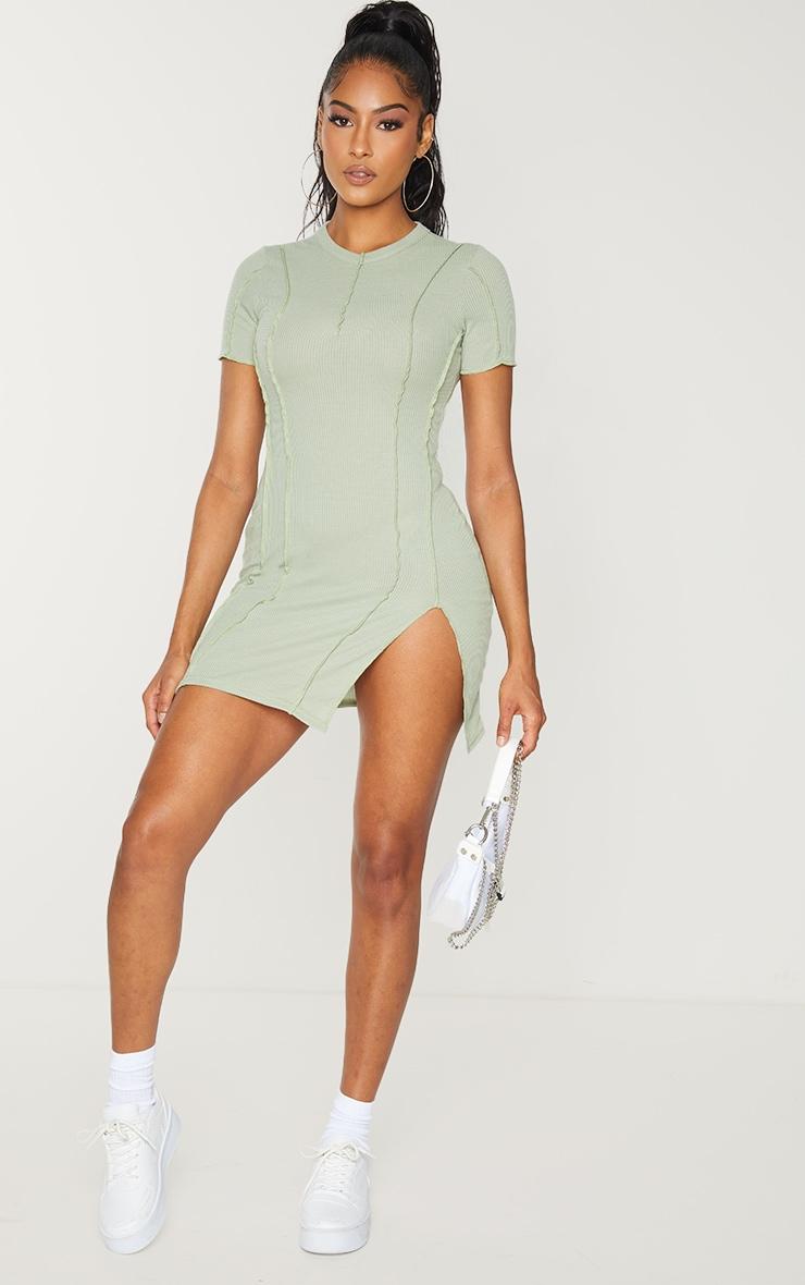Sage Green Ribbed Overlock Seam Split Hem Short Sleeve Bodycon Dress 3