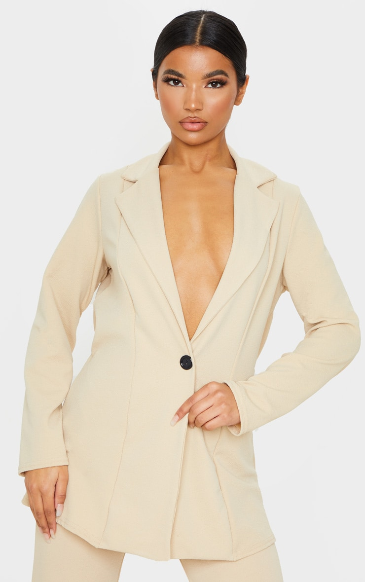 Stone Oversized Fitted Blazer 1