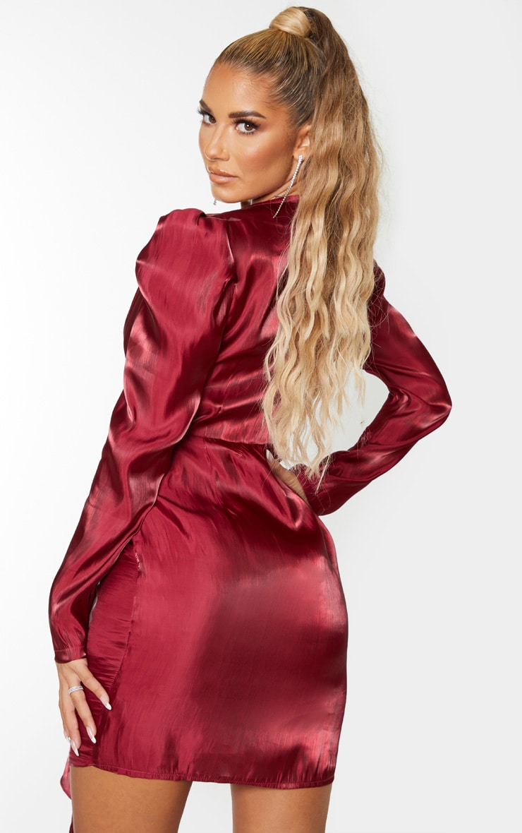 Burgundy Shimmer Satin Drape Pleat Detail Bodycon Dress 2