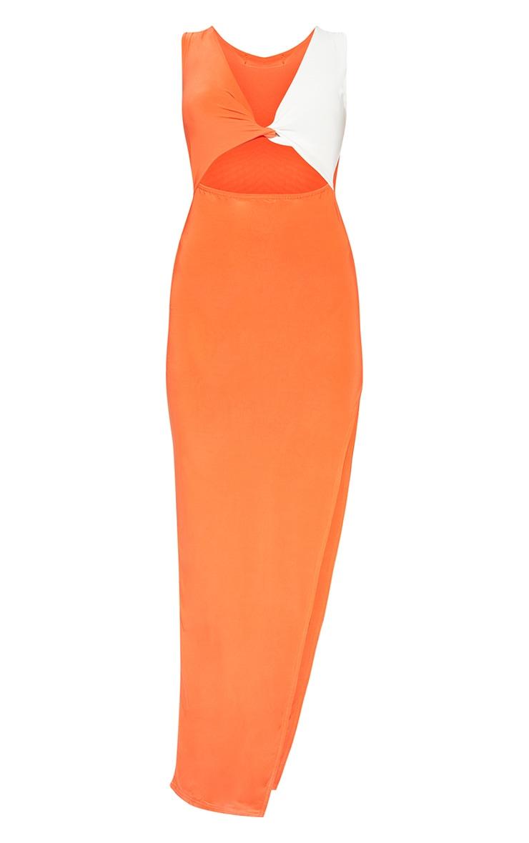 Tangerine Contrast Detail Extreme Split Maxi Dress 3