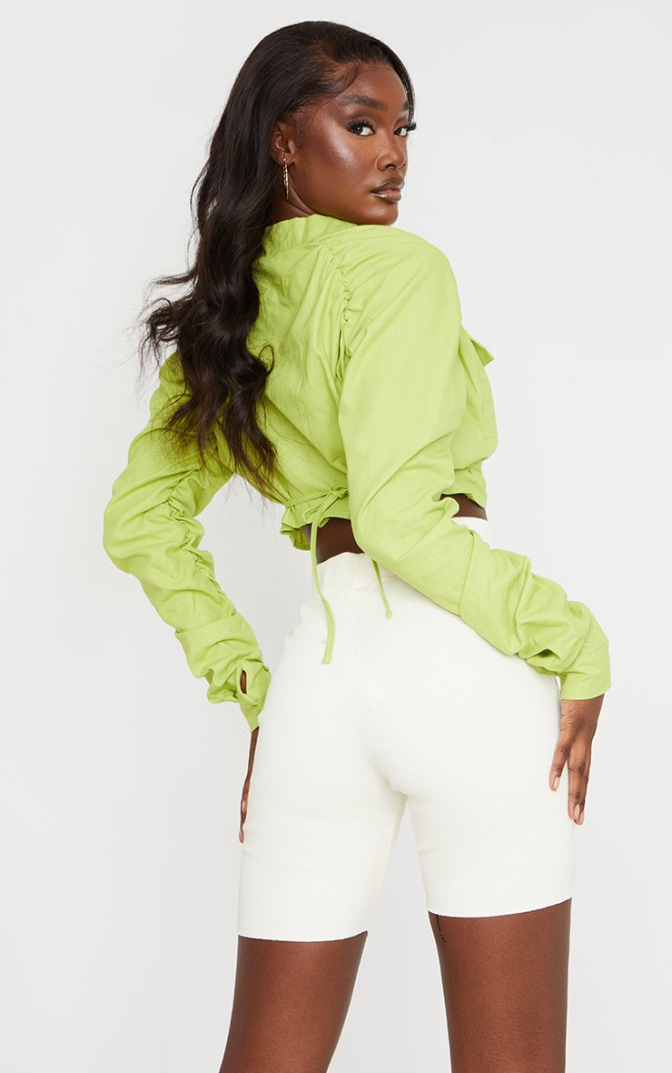 Tall Lime Ruched Sleeve Cropped Blouse 2