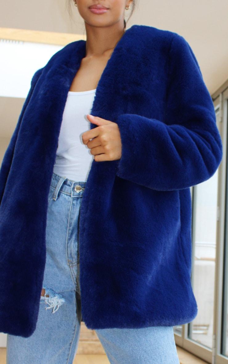 Petite Blue Faux Fur Coat 4