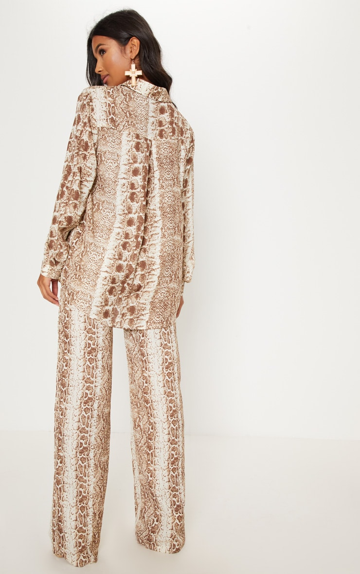 Brown Snake Print Oversized Shirt 2