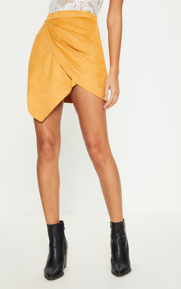 Yellow Faux Suede Wrap Over Mini Skirt 2