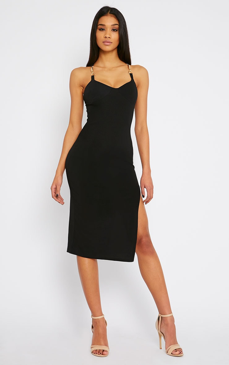 Tyler Black Chain Strap Bodycon Dress 1