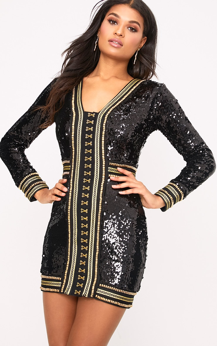 Anisha Black Premium Embellished Sequin Bodycon Dress 4