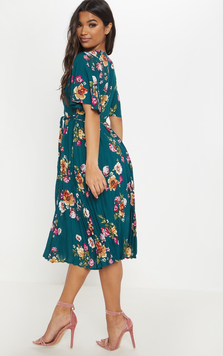 Emerald Green Floral Pleated Midi Dress 2
