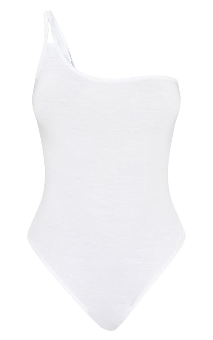 White Jersey Double Strap One Shoulder Bodysuit 3