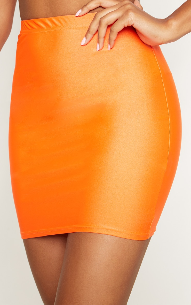 Neon Orange Disco Mini Skirt 6