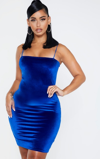 Shape Cobalt Velvet Strappy Mini Dress