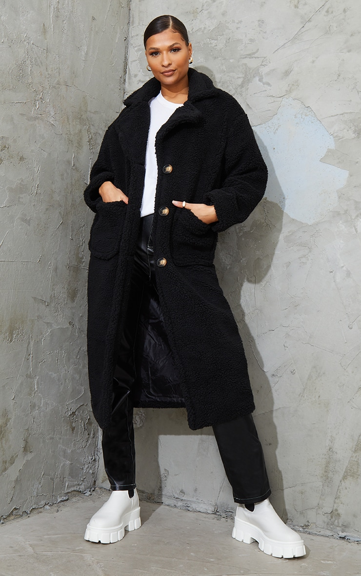 Black Maxi Borg Coat 3