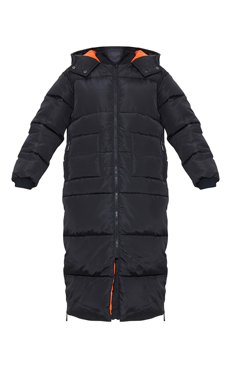 Tall - Doudoune longue noire à doublure contrastante et capuche 5