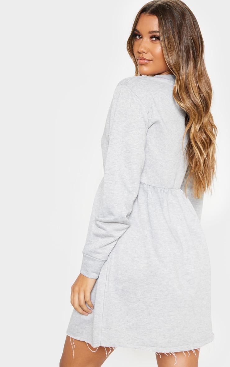 Grey Sweat Long Sleeve Smock Dress 2