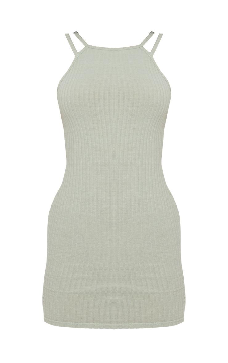 Sage Green Brushed Rib Multi Strappy Bodycon Dress 5