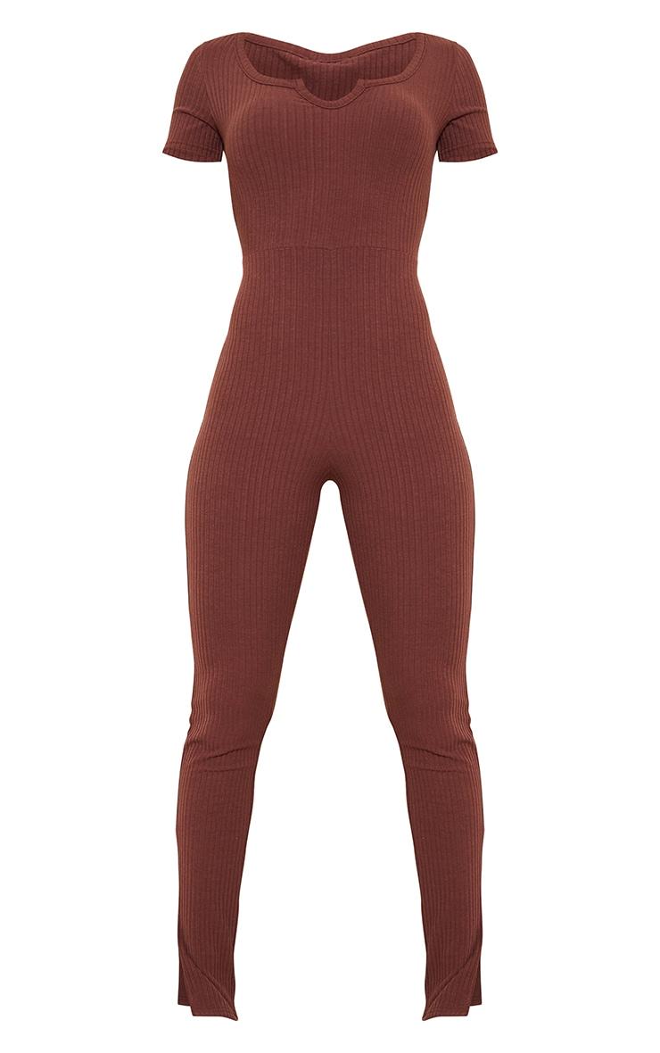 Chocolate Rib V Detail Short Sleeve Jumpsuit 5