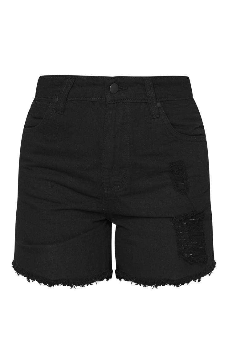 Petite Black Frayed Hem Distressed Denim Shorts 6
