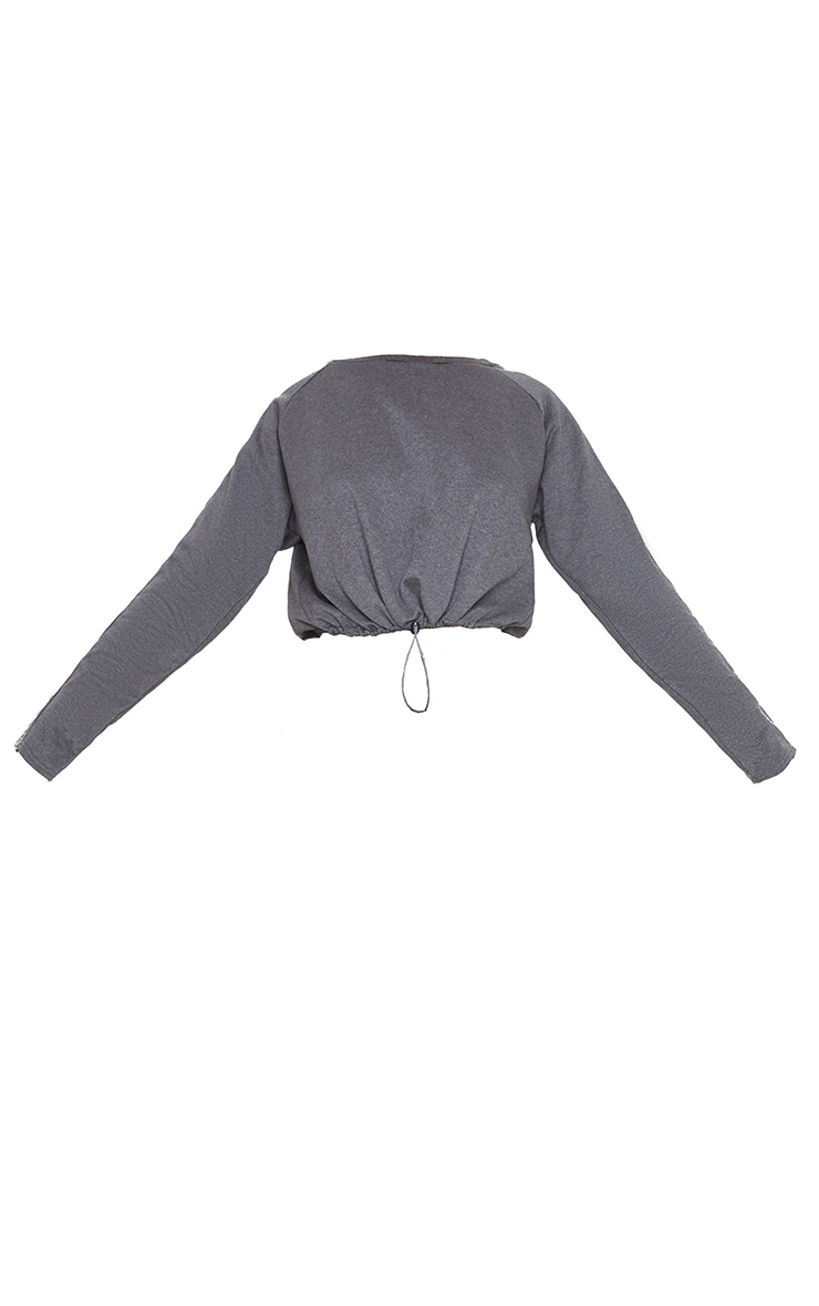 PRETTYLITTLETHING Charcoal Cropped Toggle Tie Sweat 3