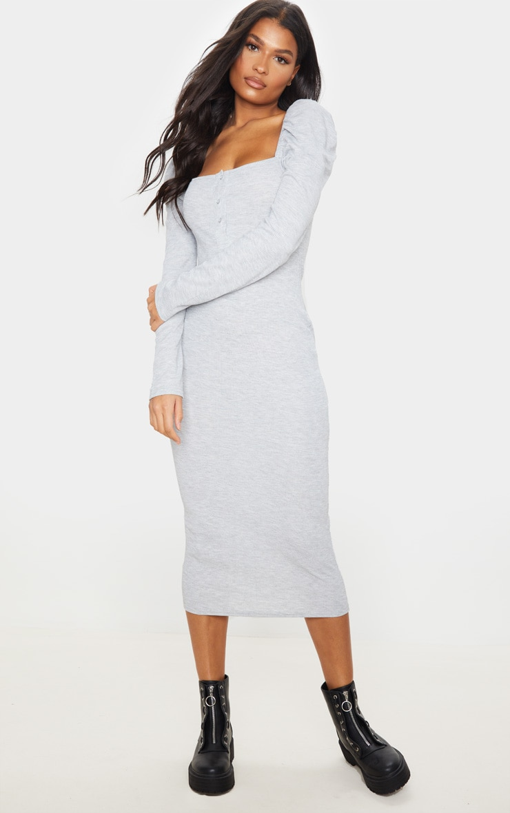 Grey Rib Puff Sleeve Popper Front Midi Dress 2