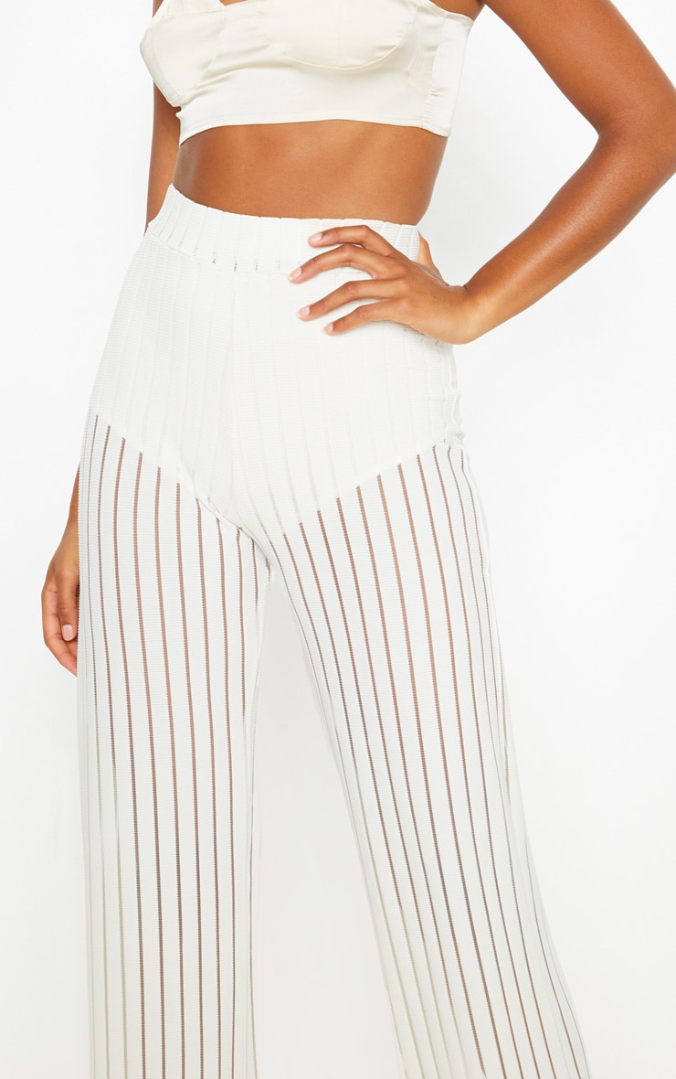 Ecru Mesh Stripe High Waisted Wide Leg Trousers 5