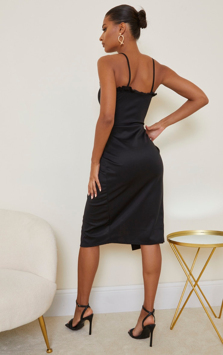 Black Frill Detail Wrap Midi Dress 2