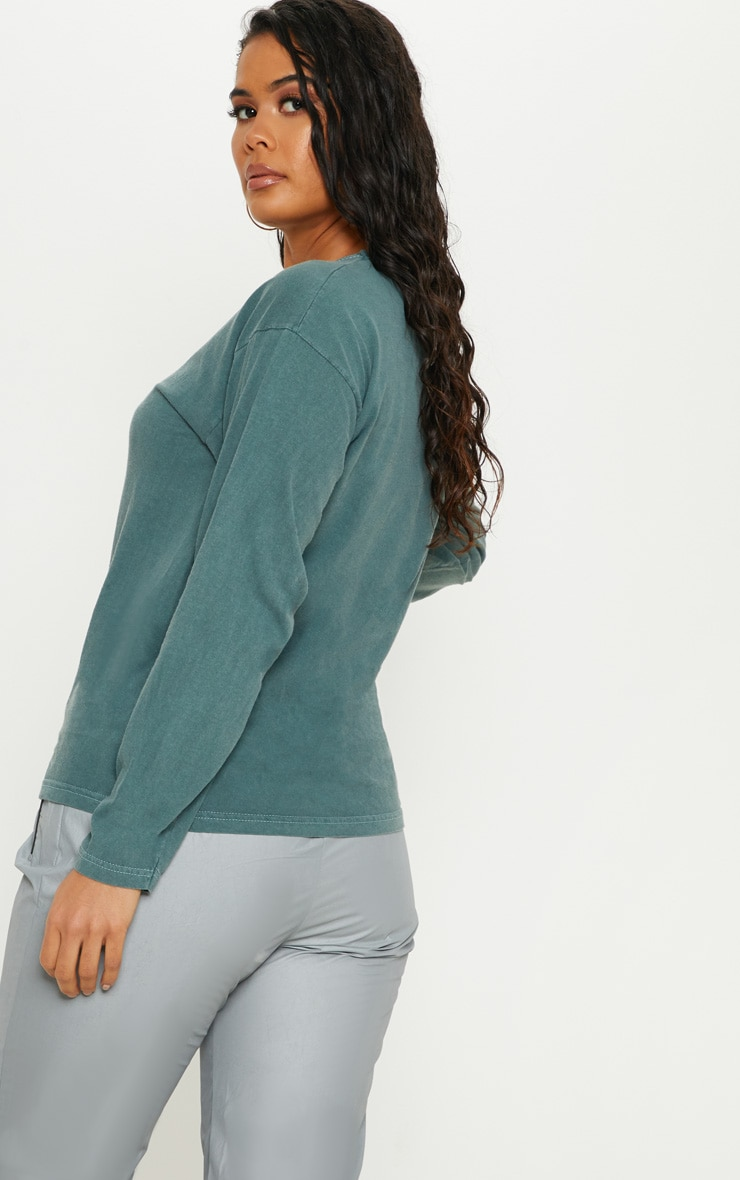 Petrol Blue Washed Long Sleeve T shirt 2