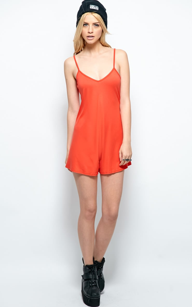 Isabel Poppy Red Strappy Swing Playsuit 3