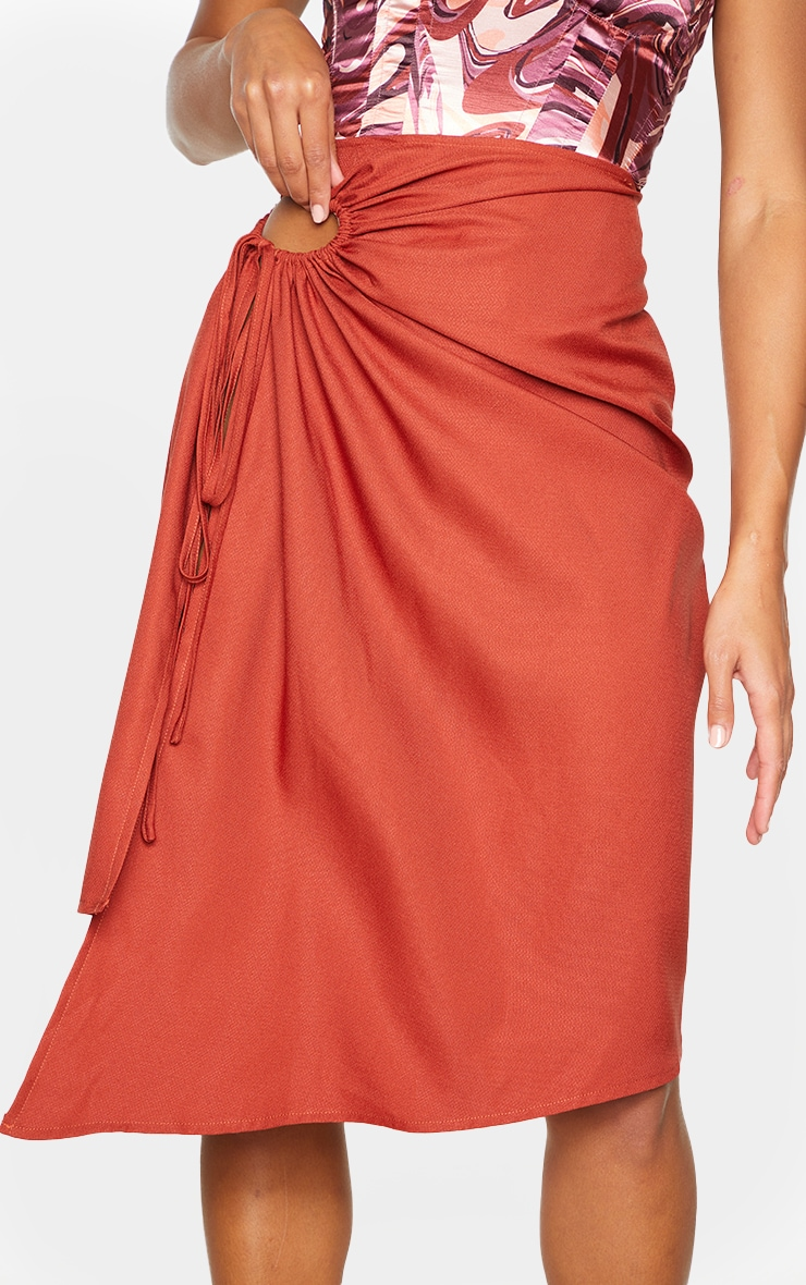 Rust Woven Ruched Cut Out Detailing Midi Skirt 4