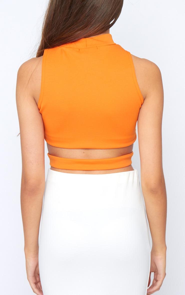 Selina Orange Tie Front Crop Top  2