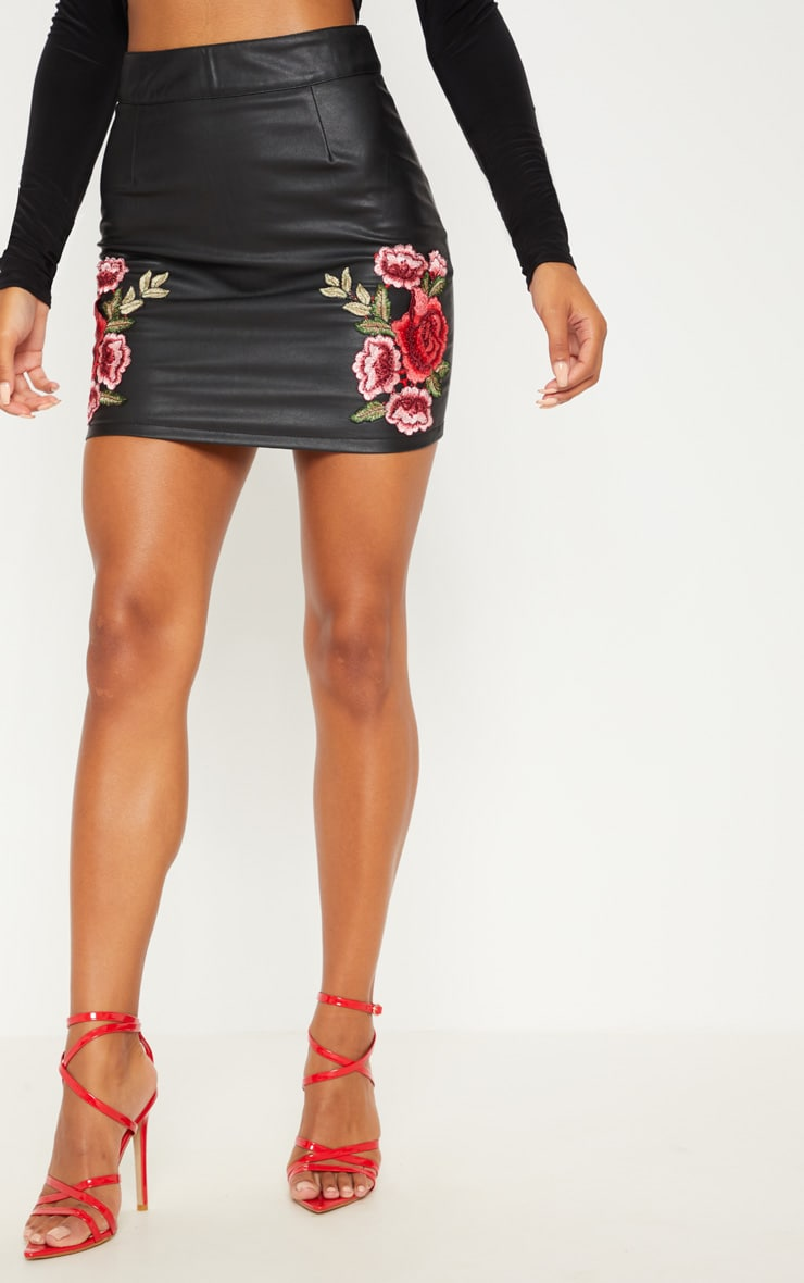 Black Faux Leather Embroidered Rose Mini Skirt 2