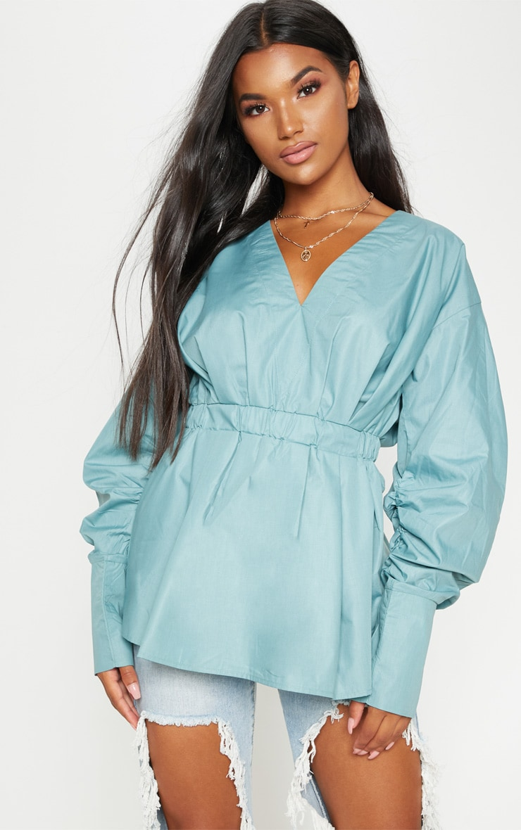 Sage Ruched Sleeve Gathered Waist Shirt