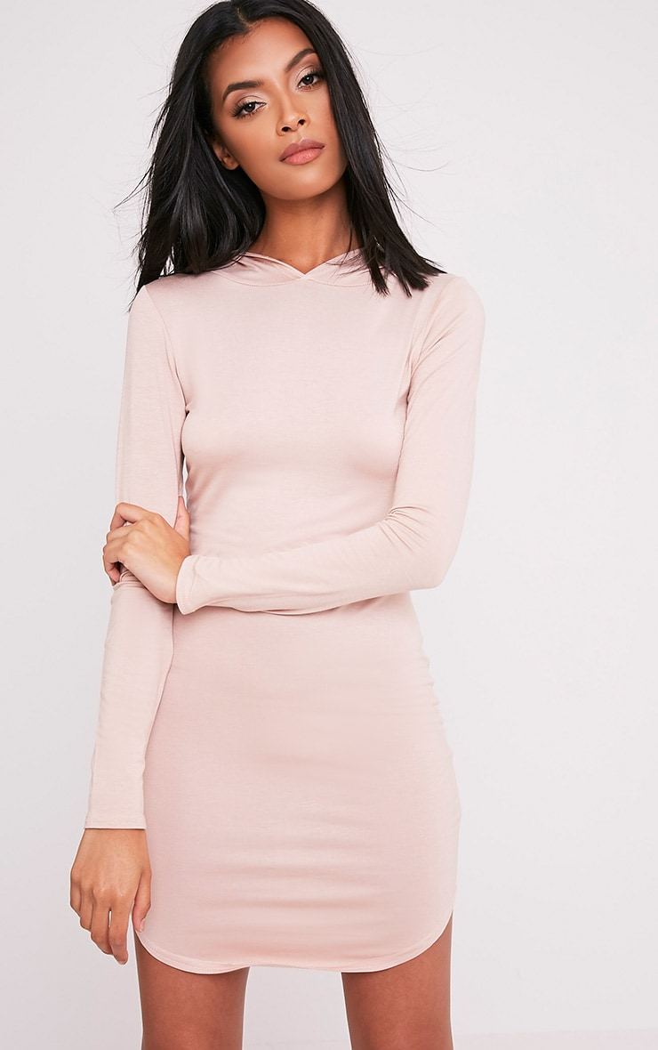 Daysie Nude Curved Hem Hooded Bodycon Dress 1