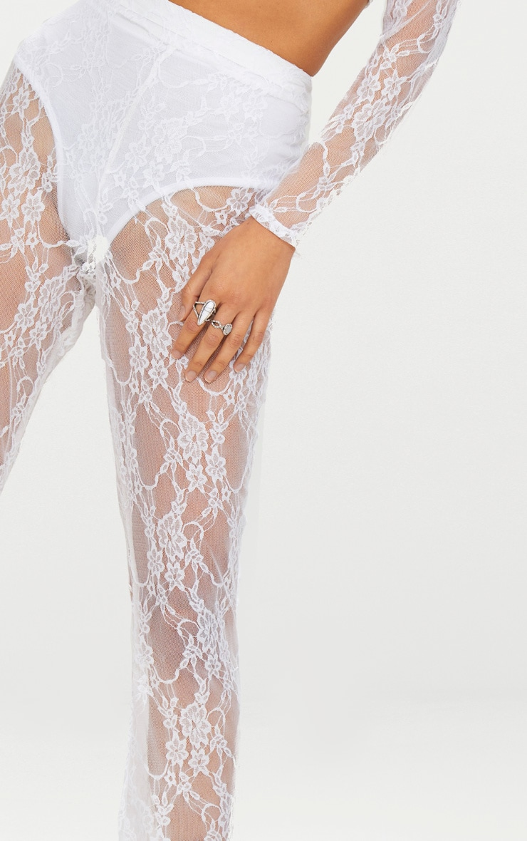 white Lace Flared Trousers 4