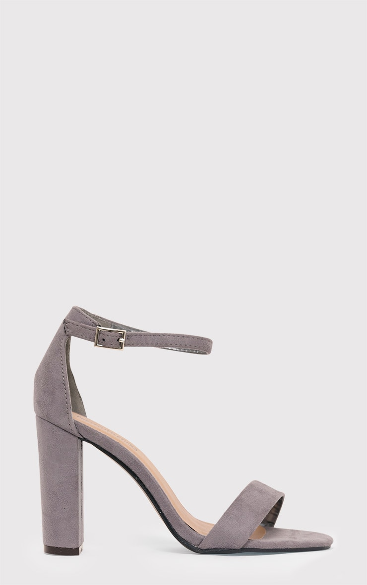 May Grey Faux Suede Block Heeled Sandals 2