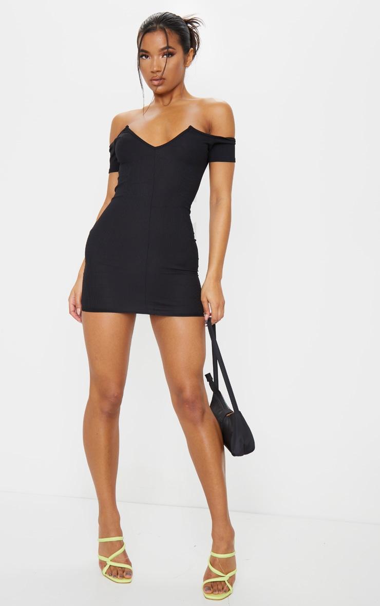 Black Ribbed Plunge Bardot Bodycon Dress image 3