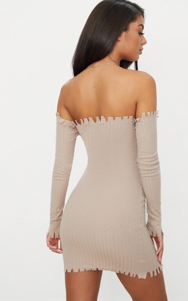 Stone Ribbed Bardot Raw Edge Detail Bodycon Dress 2