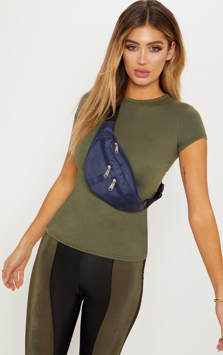 T-shirt basique kaki ajusté à col rond 2