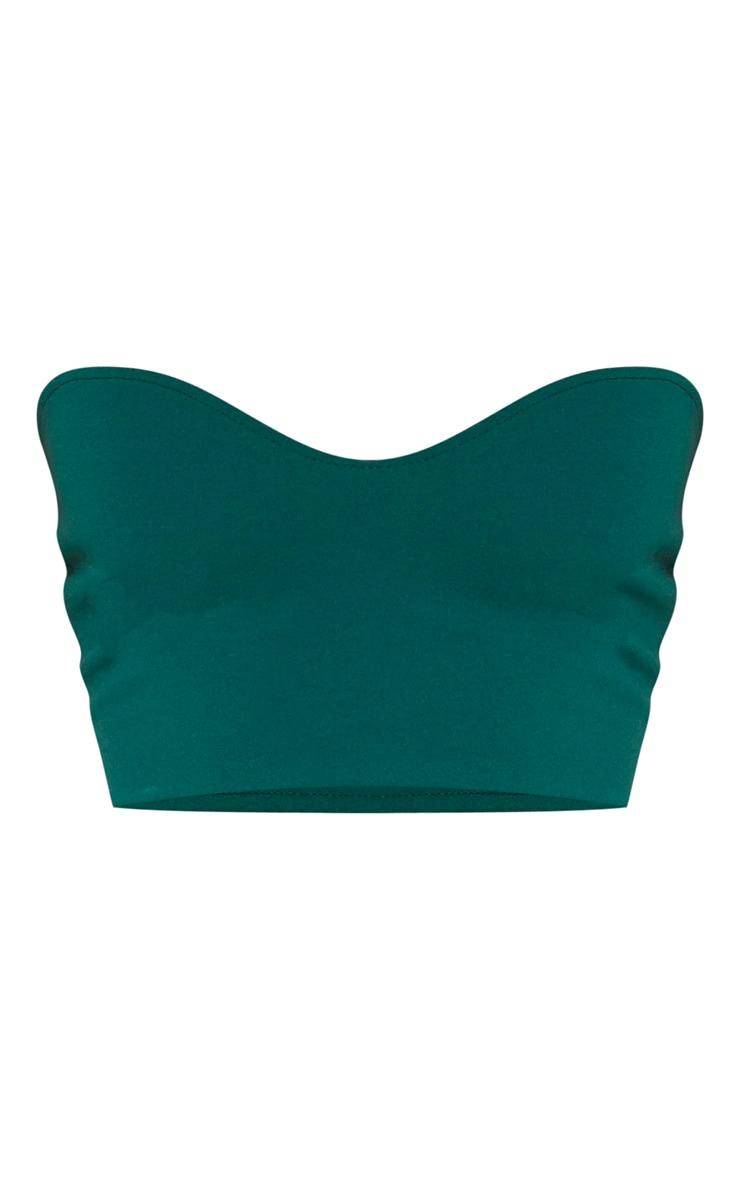Crop top bandeau vert émeraude à encolure coeur 3
