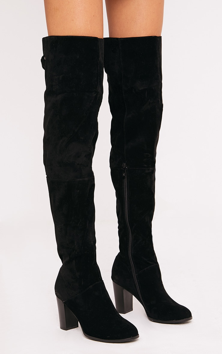 Keyra Black Faux Suede Over The Knee Boot 1