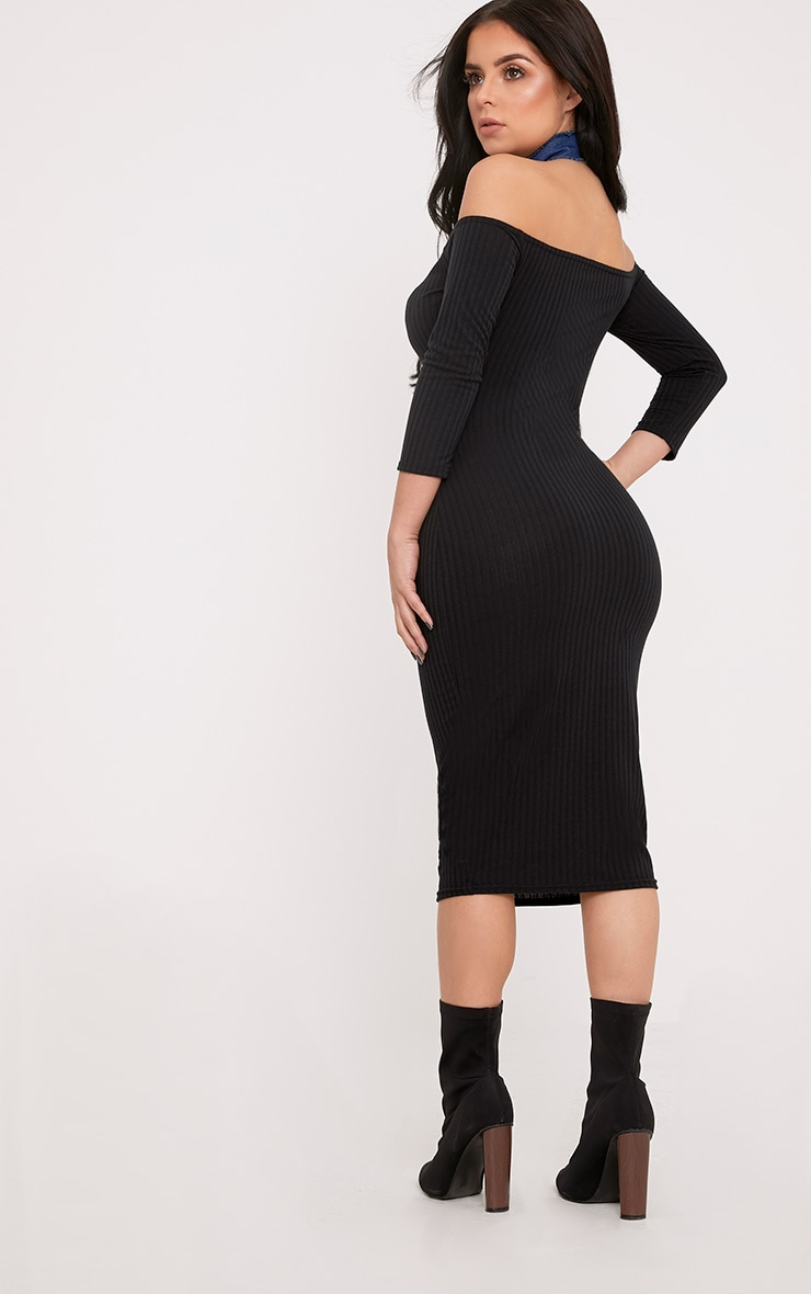 Shape Ailanna Black Ribbed Midi Bardot Dress 2
